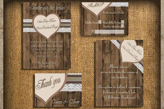 Rustic Wedding Invitations- Natural Earth Tones Wedding