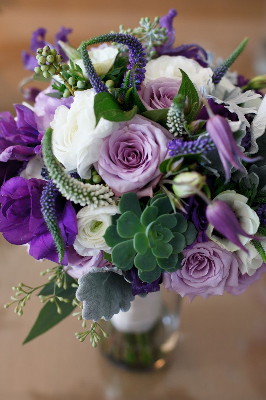 Purple green white bouquet succulents roses veronica