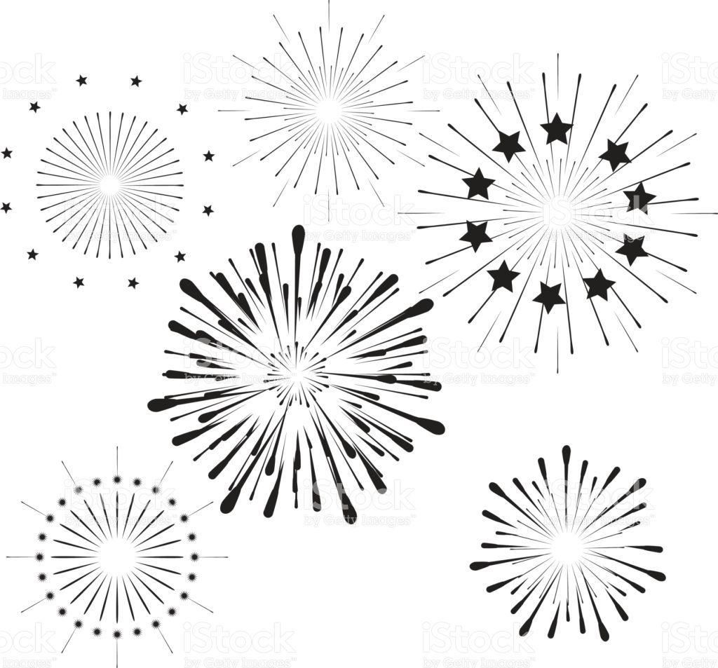 Fireworks Icons Set Firework Silhouette Black And White