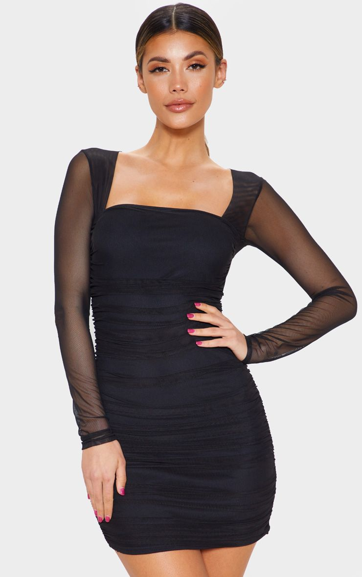 Black mesh long sleeve ruched bodycon dress in 2020