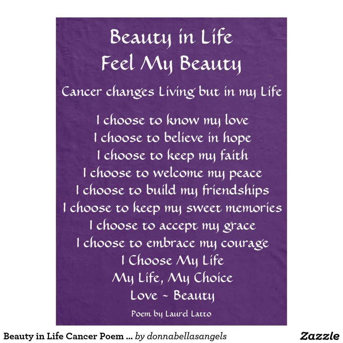 Purple Quotes Beauty In Life Cancer Poem Custom Purple Fleece Chemo Blanket