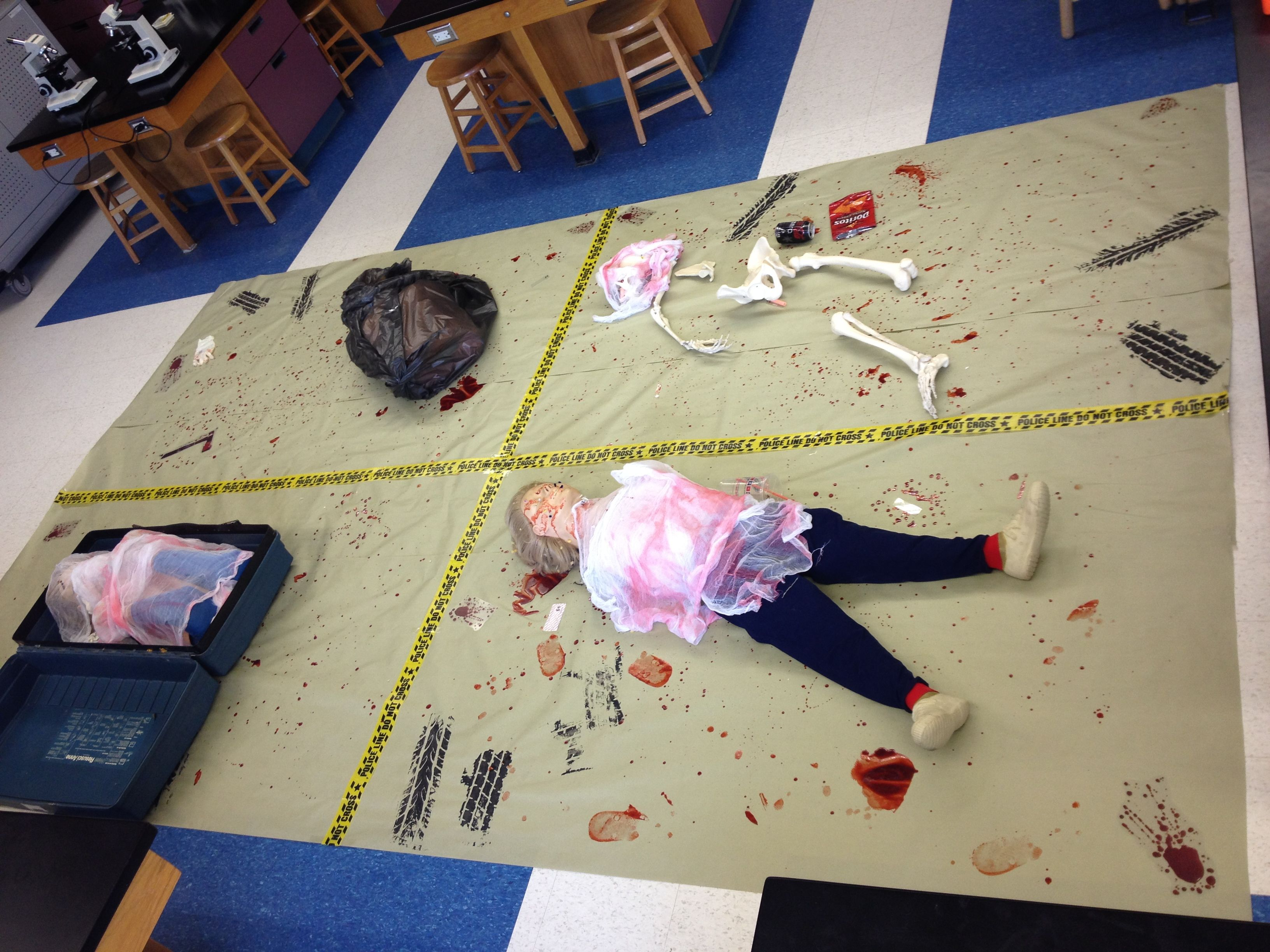 I Set Up 4 Crimes Scenes For Students Working In Teams To Analyze Each Had Various Pieces Of Eviden Forensic Science Forensics Elementary Engineering Projects