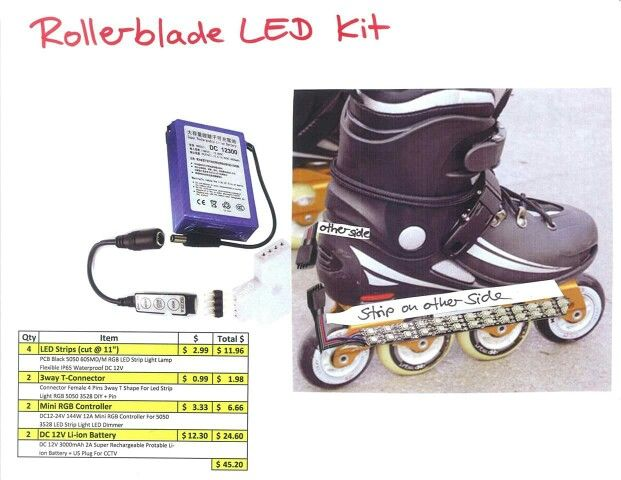 Diy Led Light Kit For Rollerblades Ebay Strip Lights Rgb Rechargeable Ion Or Lithium Battery 12v Led Kit Led Strip Lighting Led Light Kits