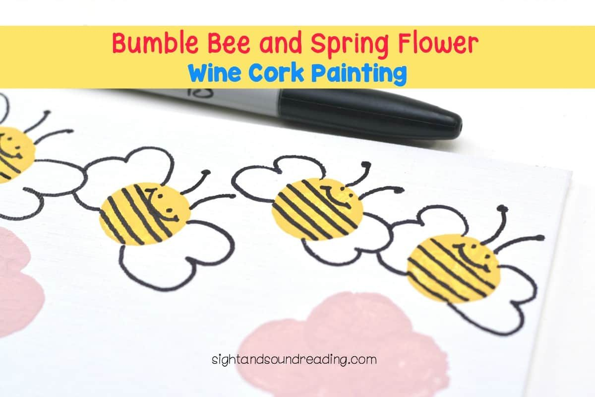 Bumble Bee And Spring Flower Wine Cork Painting