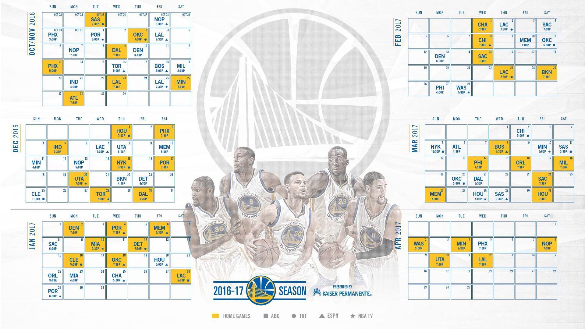 gs warriors 2016 17 schedule sports galore pinterest