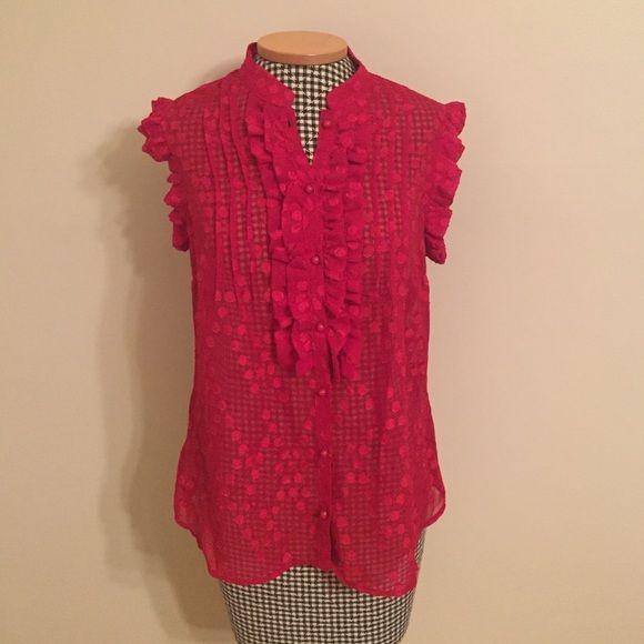 Red Ruffle Dot Blouse NWT red ruffle sleeve blouse. Merona Tops Blouses