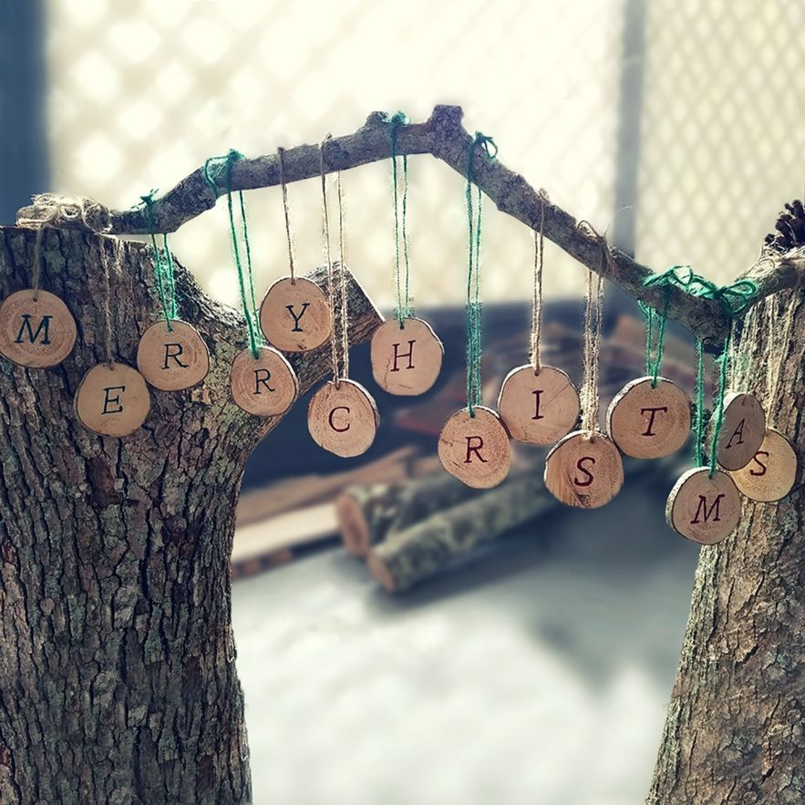 Hanging Merry Christmas Wood Sign