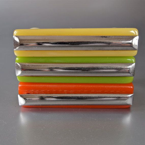 Art Deco Hardware Chrome And Bakelite Citrus Colors Kitchen Cabinet Pulls X 8