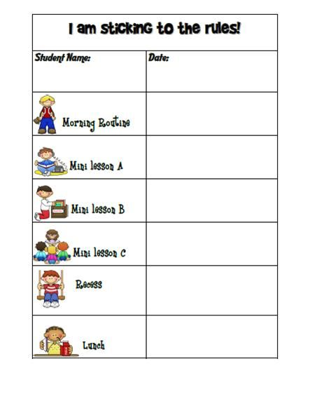 Kindergarten Graph Template  Behavior ChartBoy Or GirlTemplate