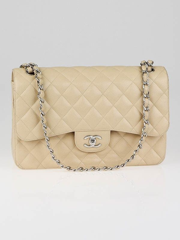 9e7c73afec41 Chanel Beige Quilted Caviar Leather Classic Jumbo Double Flap Bag ...
