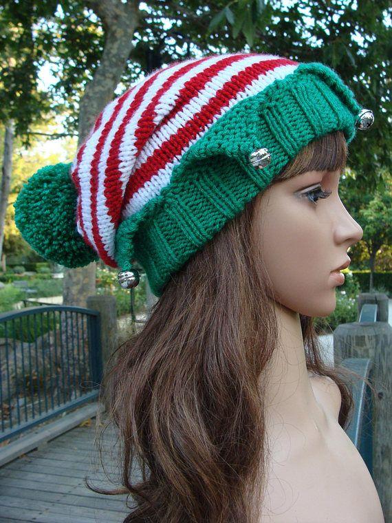 Diy Knitting Pattern 169 Santas Little Elf Knit Hat With Bells