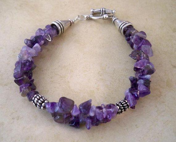 Photo of Amethyst Stone Chip Double Strand Bracelet, Amethyst Beaded Bracelet, Handmade Jewelry, Semi Precious Stone Jewelry