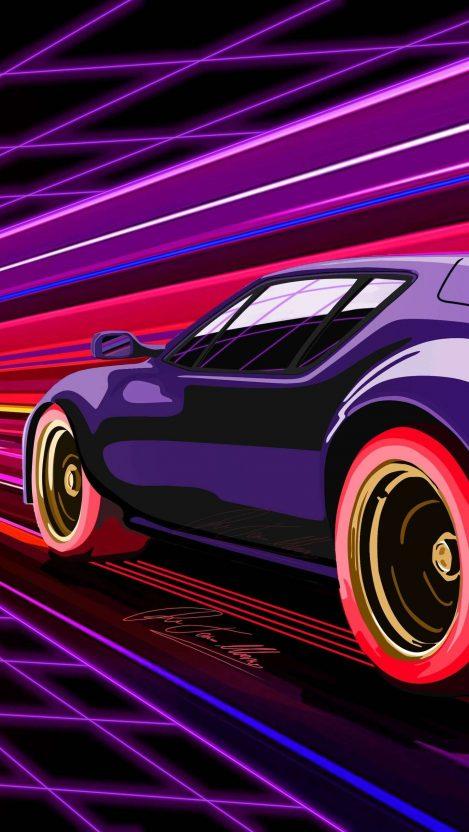 Purple Beauty Retro Car iPhone Wallpaper Free_1