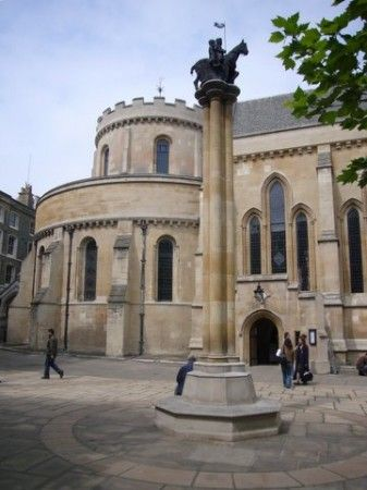 Knights Templar: Temple Church with Templar Pillar, London, England, built in the 12th century by the #Knights #Templar.