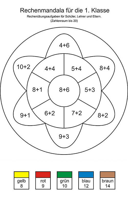 rechenmandala matheübungsaufgaben 1 klasse  erste klasse