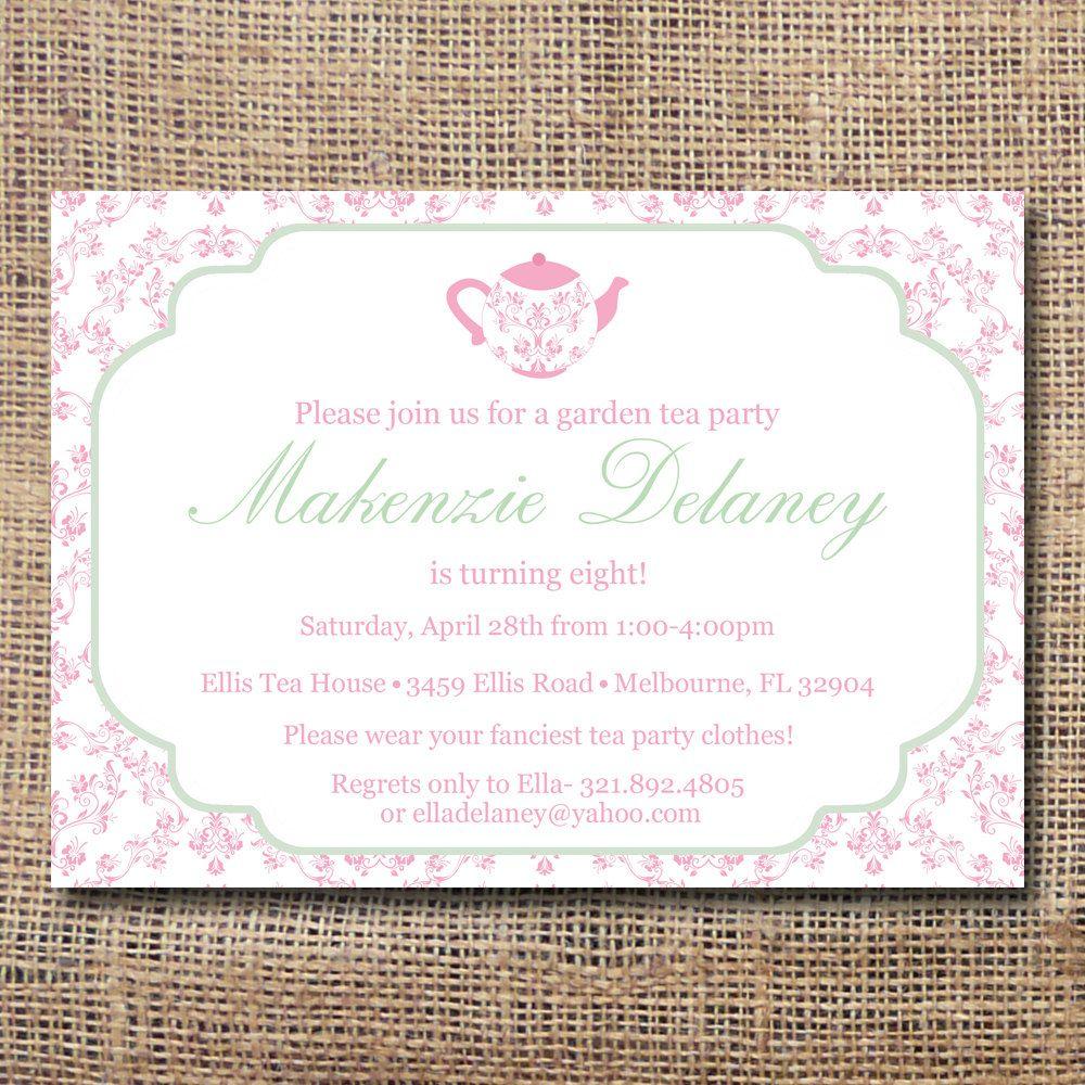 Printable Garden Tea Party Invitation. $12.00, via Etsy. | Tea ...