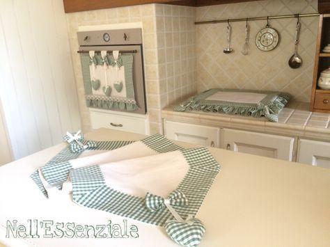 Set Cucina Shabby chic composto da Copri forno, Copri Fornelli e ...
