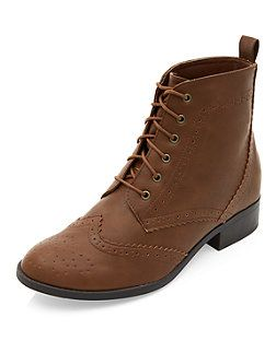 Tan Embossed Lace Up Boots  | New Look