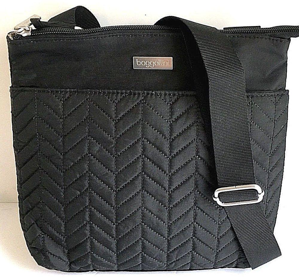 a997bbe0a5 NEW BAGGALLINI Small Crossbody Shoulder Bag Black Nylon Quilt Front Light  Vegan