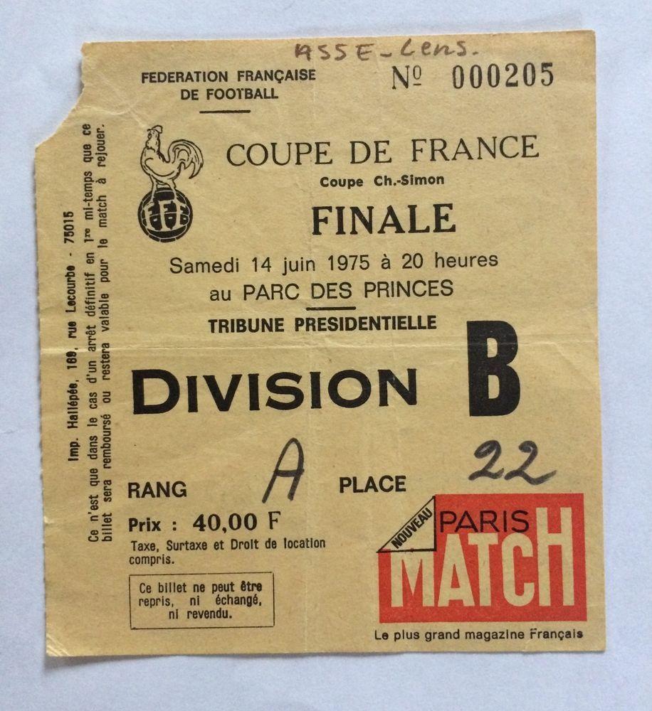 ticket billet FINALE coupe de france 1975 SAINT ETIENNE