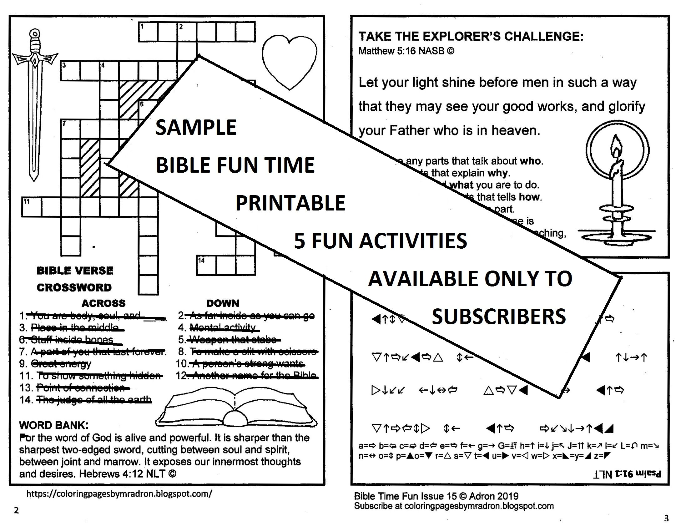 Bible Fun Times Kids Handout With Acts 2 21 Matthew 5 16