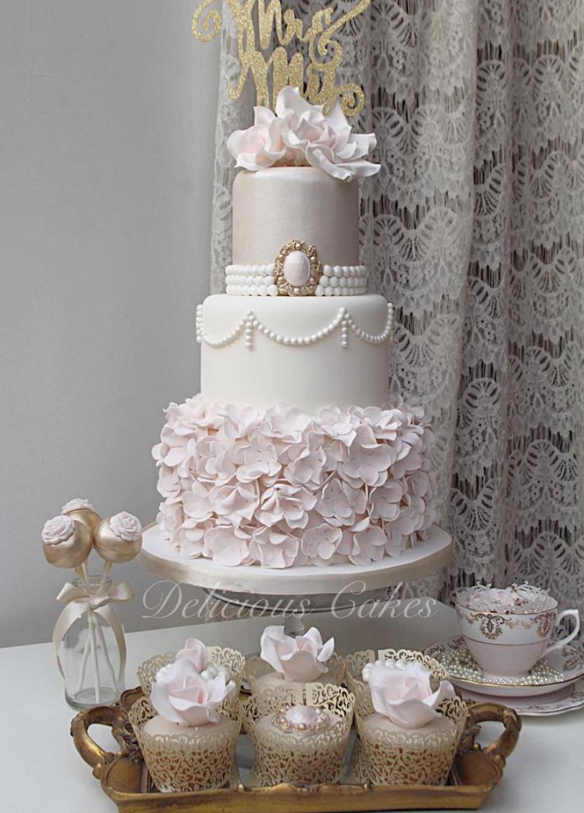 Beautiful Blush Ruffle Wedding Cake by Delicious Cakes