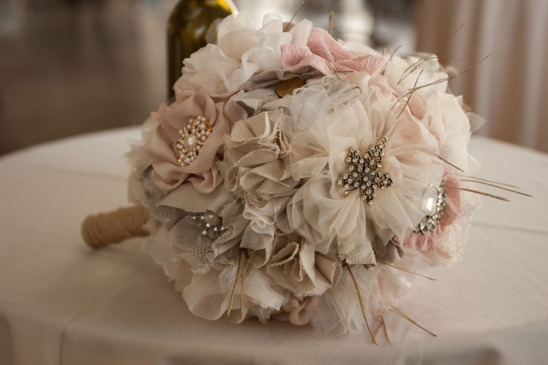 Handmade fabric flower wedding bouquet by danandelle on etsy https handmade fabric flower wedding bouquet by danandelle on etsy httpsetsy izmirmasajfo
