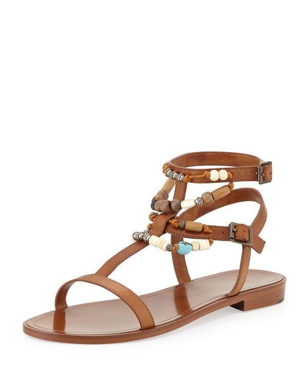 ff578c30e8e Saint Laurent - Bead-Embellished Flat Sandal