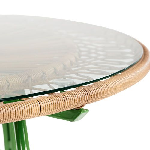The Lyra Outdoor 6 Seater Dining Table, In Green. A Retro Dining Space For