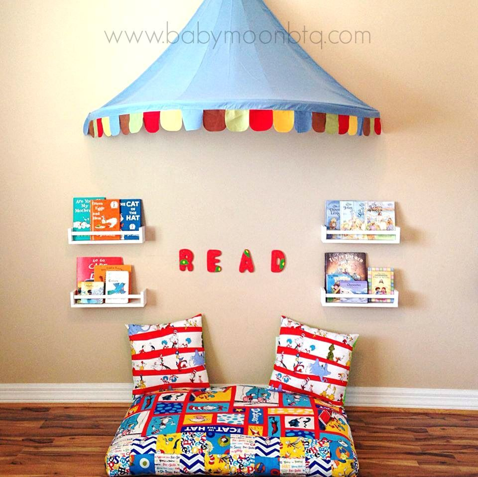 Decorate That Playroom. DIY playroom decor, reading corner and learning  center.