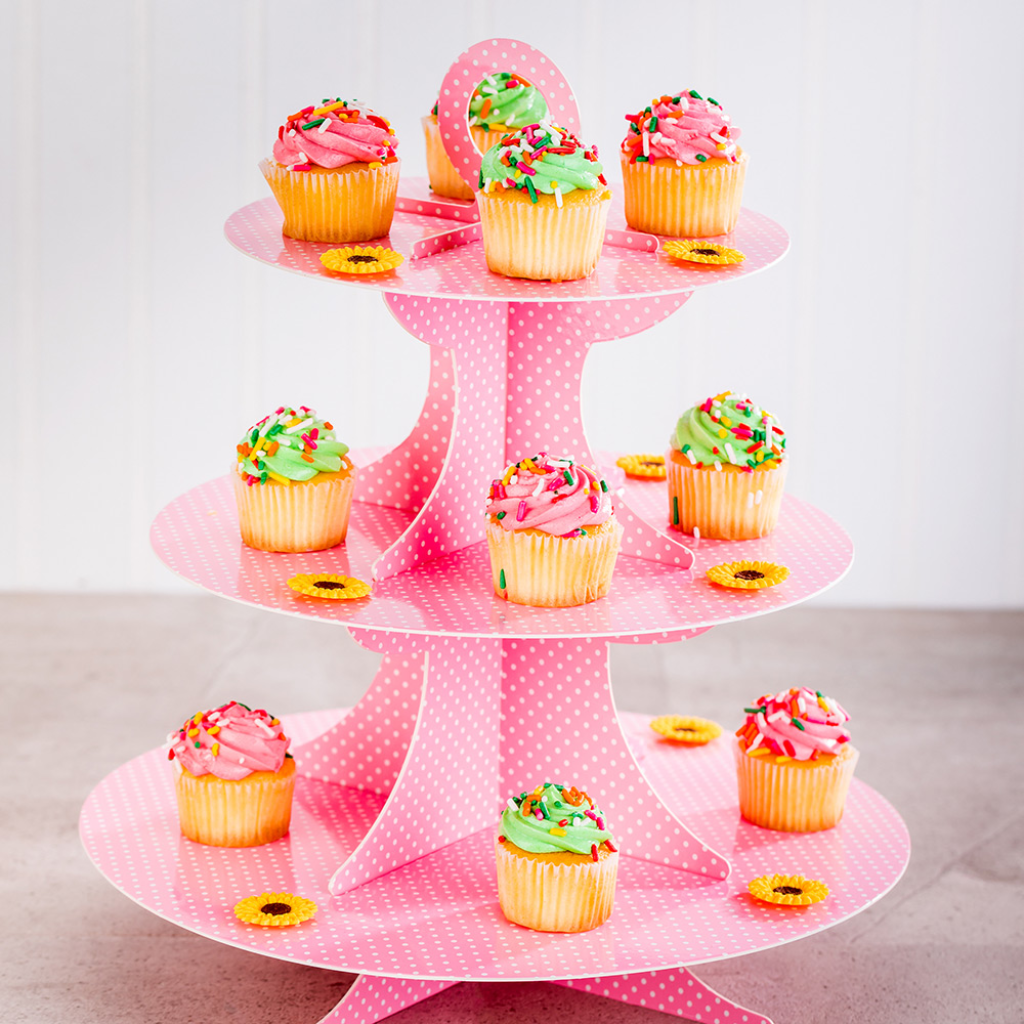 Pastry Tek Pink Cardboard Cupcake Stand 3 Tier White Polka Dots 13 1 2 X 13 1 2 X 14 1 Count Box Disposable Cupcake Stand Cardboard Cupcake Stand Cupcake Stand