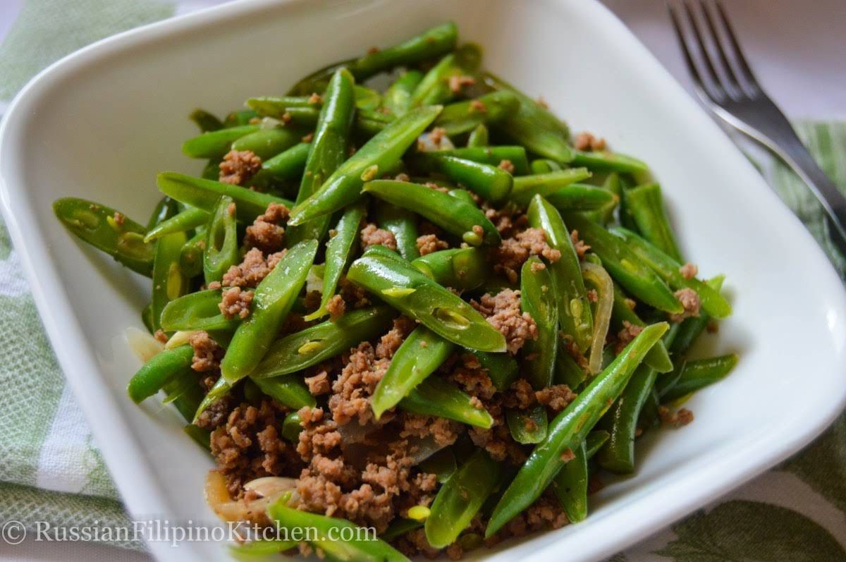 Sauteed Green Beans With Ground Beef Filipino Style Ginisang Baguio Beans Recipe Yummly Recipe Green Beans Sauteed Green Beans Sauteed Greens
