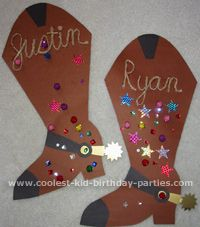 Cowboy boot craft - the link no longer works but you could just cut out a boot from brown construction paper and then glue on sequins and other fun crafts bits.