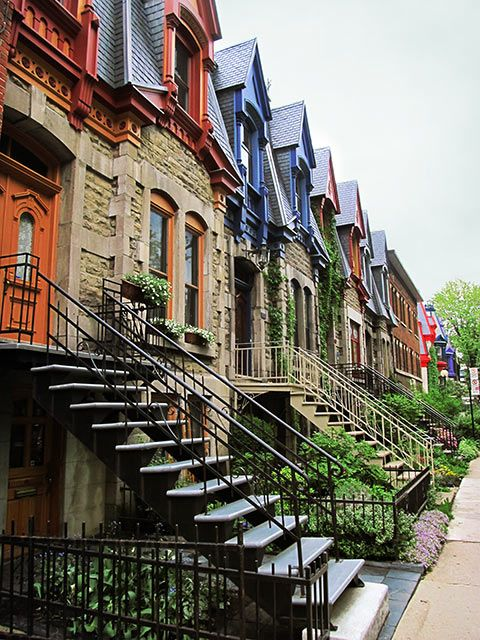 Montreal is well-known for its curving outdoor staircases and colourfully painted apartment buildings.