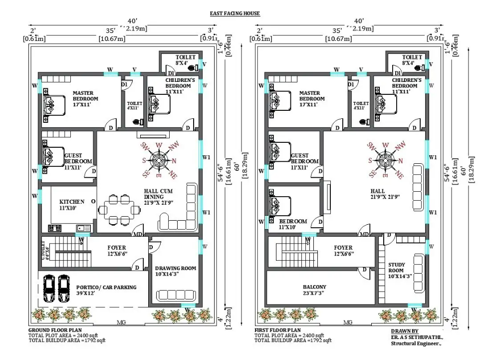 40'x60' G 1 East facing house plan as per vastu shastra Download the free 2D Autocad drawing file