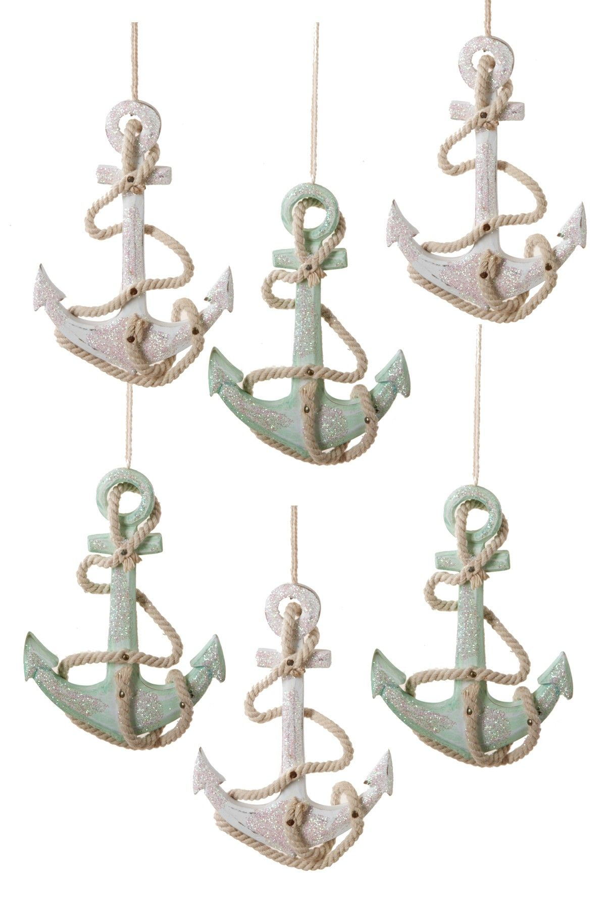 Anchor ornaments - 4 75 Wooden Anchor Ornaments 6 Piece Set On Hautelook