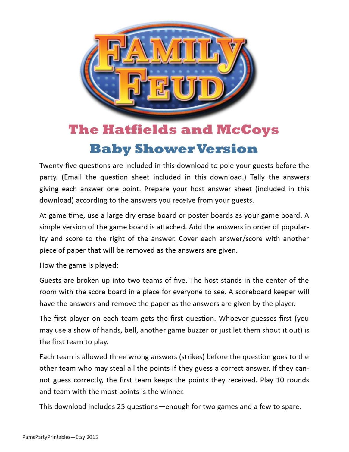 Baby Shower Family Feud   Printable Game   Hatfields And McCoys Game    Party Game