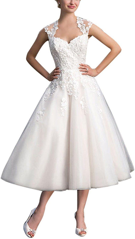 JAEDEN Damen A Linie Tüll Brautkleider Wadenlang Hochzeitskleid ...