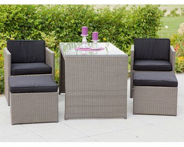 Balkonmobel Lounge Set Merano Grau 11 Teilig Gartenmobel