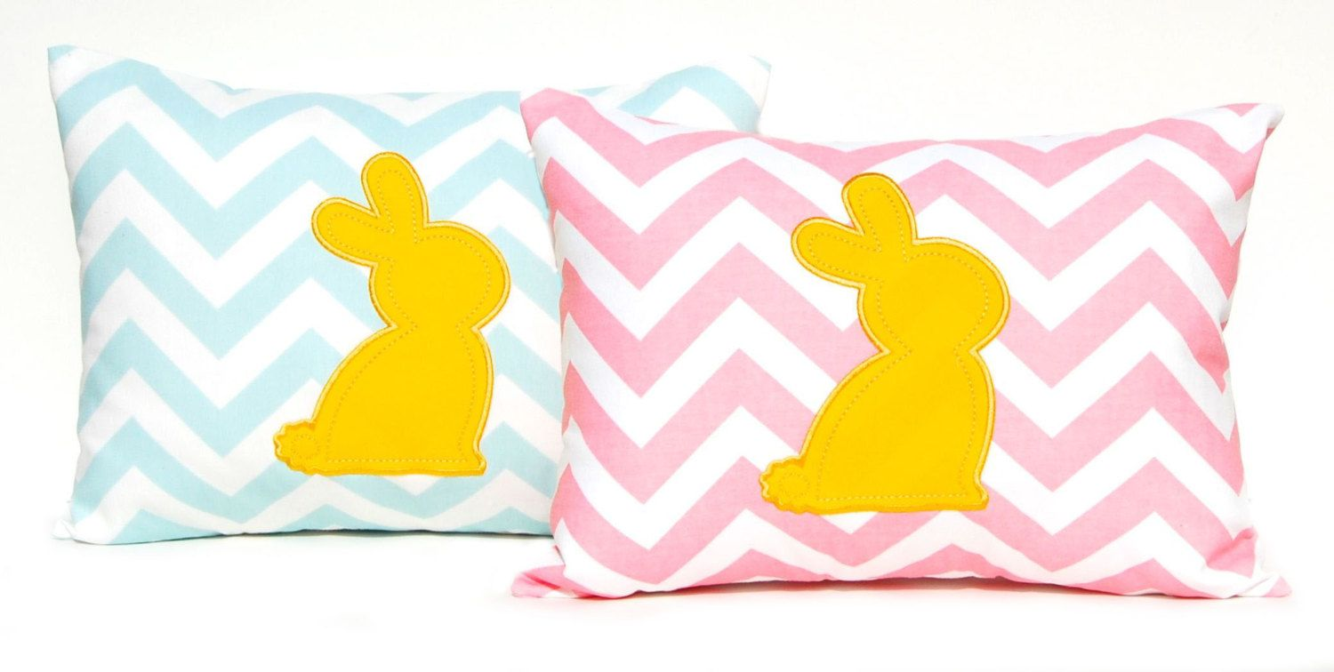 Easter Pillow Pink Chevron with Yellow Velvet
