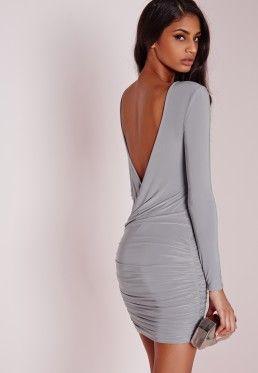 71b73629a9a Slinky drape back ruched bodycon dress. Slinky drape back ruched bodycon  dress Grey ...