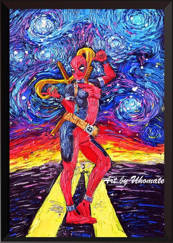 Woman Deadpool Poster Vincent Van Gogh Starry Night Canvas ...