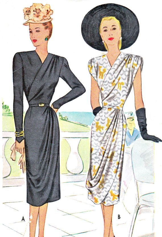 1940s Evening Dress Pattern McCall 6933 Surplice Bodice Dress with ...