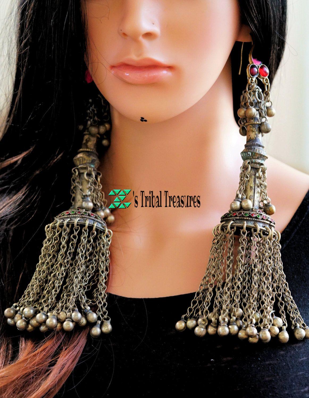 Large Earrings Chandelier Earrings Jhumka Vintage Afghan Earrings with Bells Afghan Jewelry Tribal Boho Earrings Kuchi Earrings