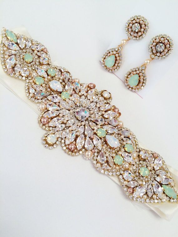Mint Opal Bridal Belt Vintage Wedding One Of A Kind By KNRHANDMADE