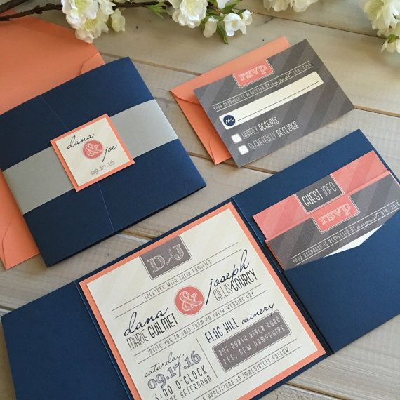 Modern wedding invitations navy and coral wedding invitations gray and coral wedding invitations navy pocket invitations