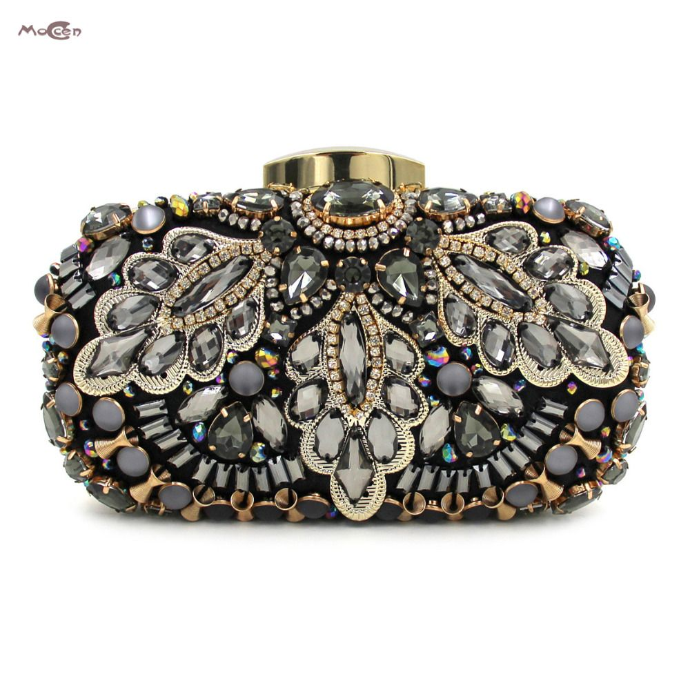 Moccen Luxury Handbags Women Bags Designer Evening Clutch Crystal Purse  Beaded Bags Diamonds High Quality Party 123d3ff40da2