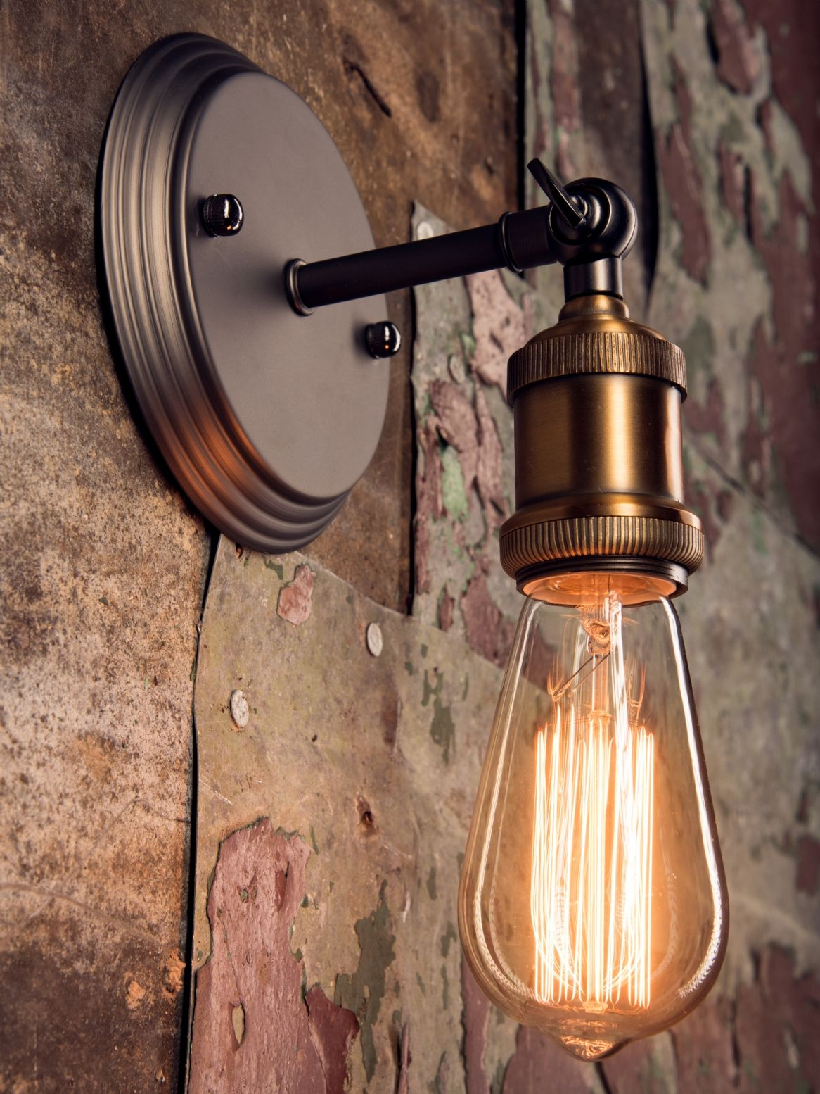 Single Rustic Wall Light With Adjustable Knuckle And Squirrel Cage Filament Bulb Rustic Light Fixtures Wall Lights Rustic Wall Lighting