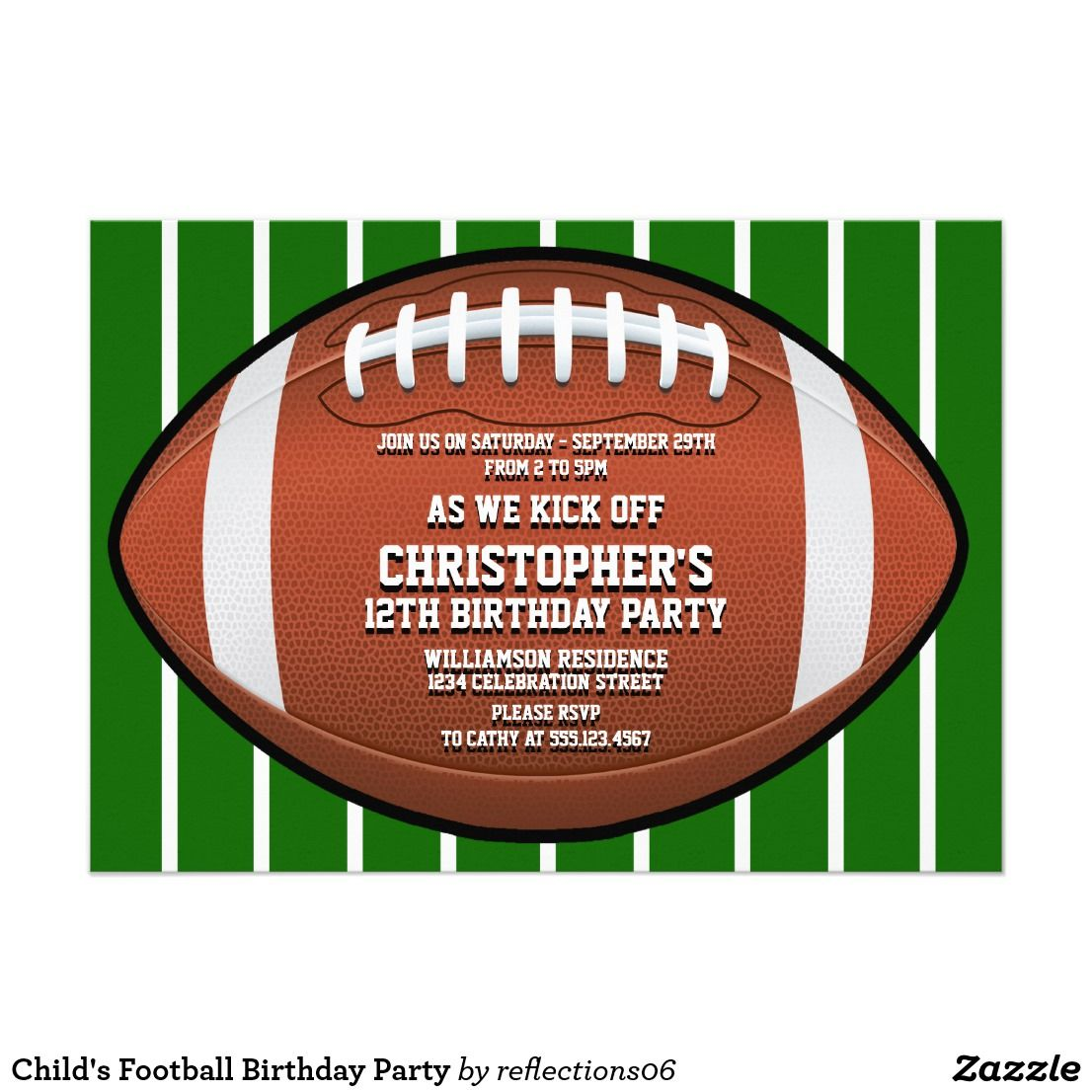 Child\'s Football Birthday Party Card | Football birthday, Party ...