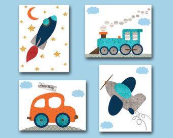Car Nursery Rocket Baby Boy Decor Children Art Print Set Of 4 11x14 Plane Train Nursert Gray Blue